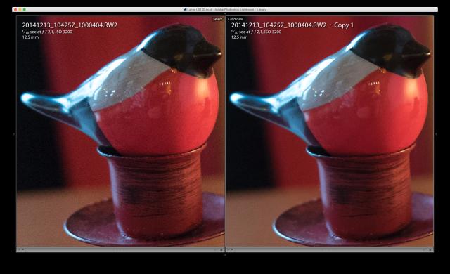 ISO3200 -kuva. Vasemmalla ilman, oikealla Ligtroomin kohinanpoistolla.